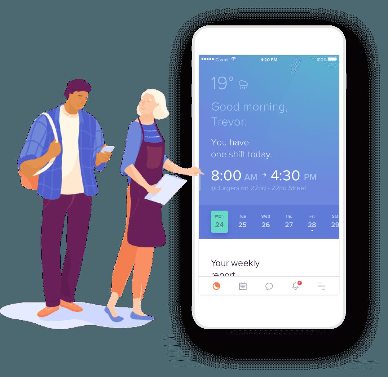 Mobile restaurant scheduling app. Waitress clipart bar staff