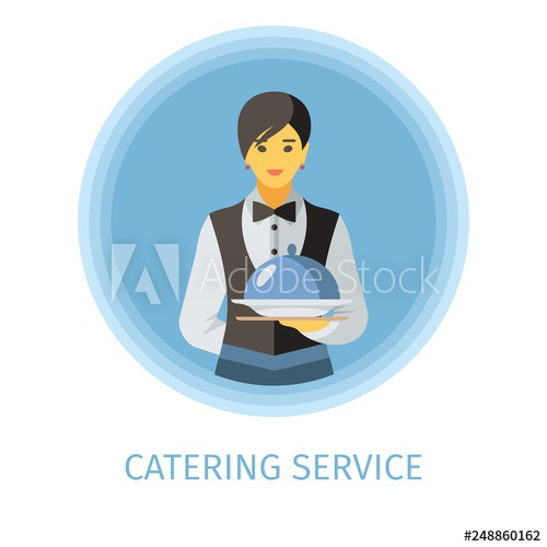 Flat vector character catering. Waitress clipart bar staff