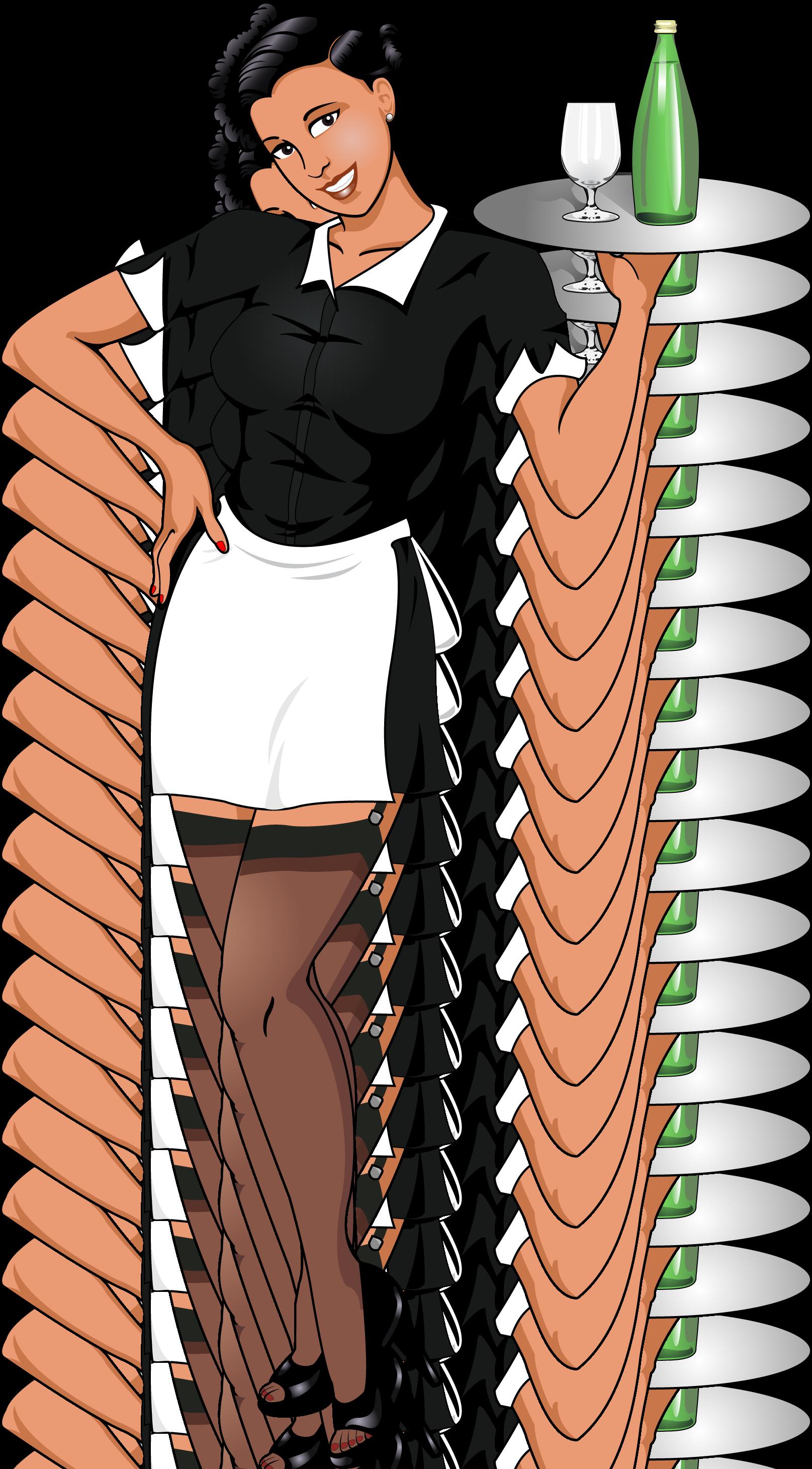 Josie food cart chalkboard. Waitress clipart bartender