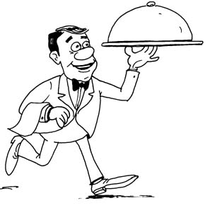 Waitress clipart black and white. Free waiter download clip