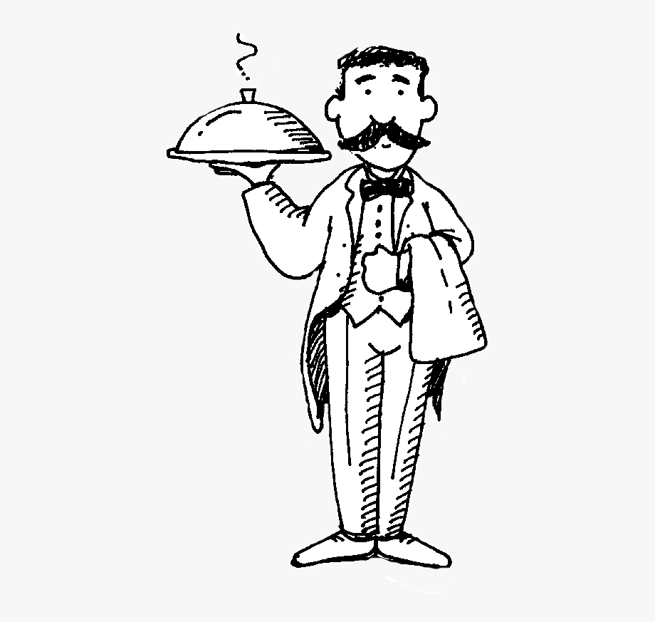 Waitress clipart black and white. Waiter free cliparts on