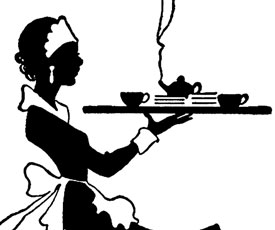 Vintage image the graphics. Waitress clipart black and white