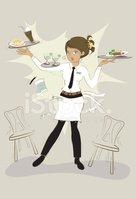 Waitress clipart busy. Stock vectors me