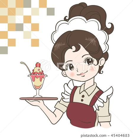 Taisho roman showa retro. Waitress clipart cafe