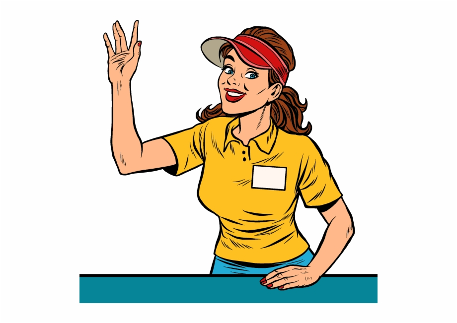 Concession stand workers . Waitress clipart cafe