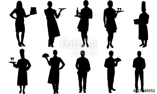 Waitress clipart clip art. Waiters and silhouette restaurant