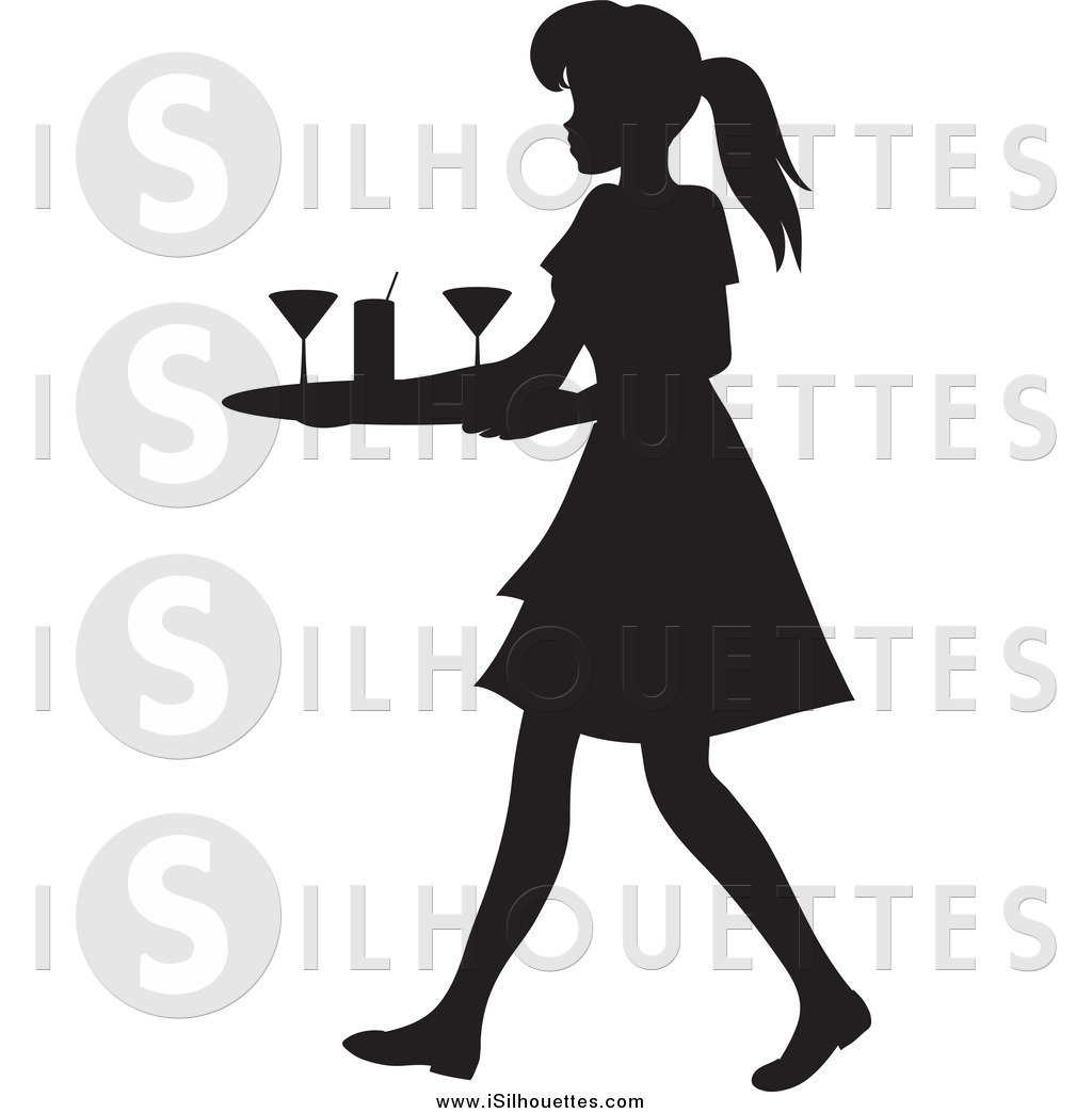 Waitress clipart cocktail waitress. Of a black silhouetted