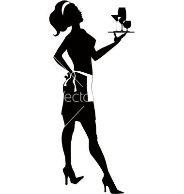 Free vector silhouette of. Waitress clipart cocktail waitress