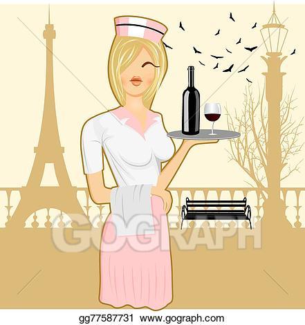 Waitress clipart cute. Vector illustration holding serving
