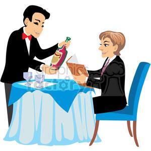 Waitress clipart fancy restaurant. Waiter serving wine at