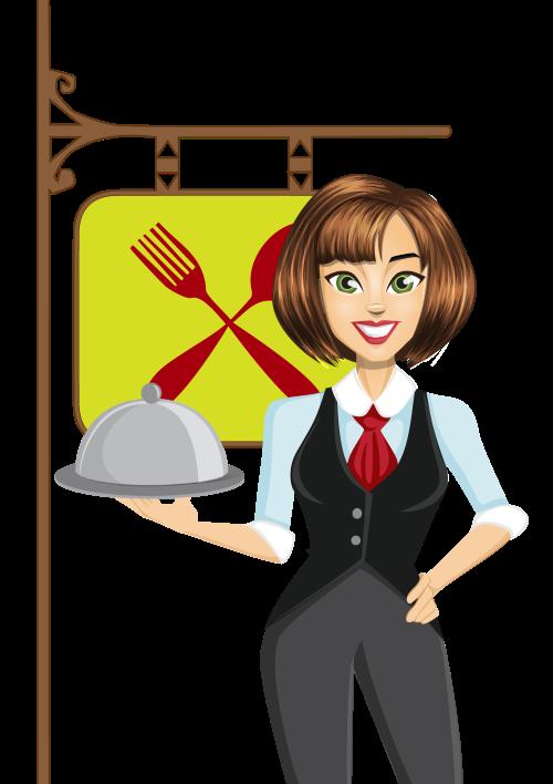 Robust oriental soup reflocate. Waitress clipart female