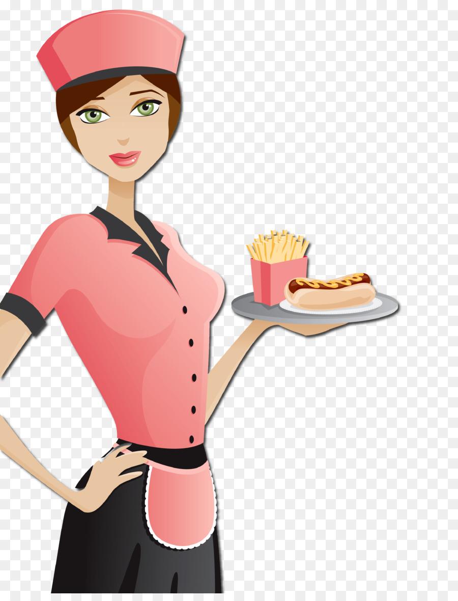 Background cartoon cook finger. Waitress clipart food attendant