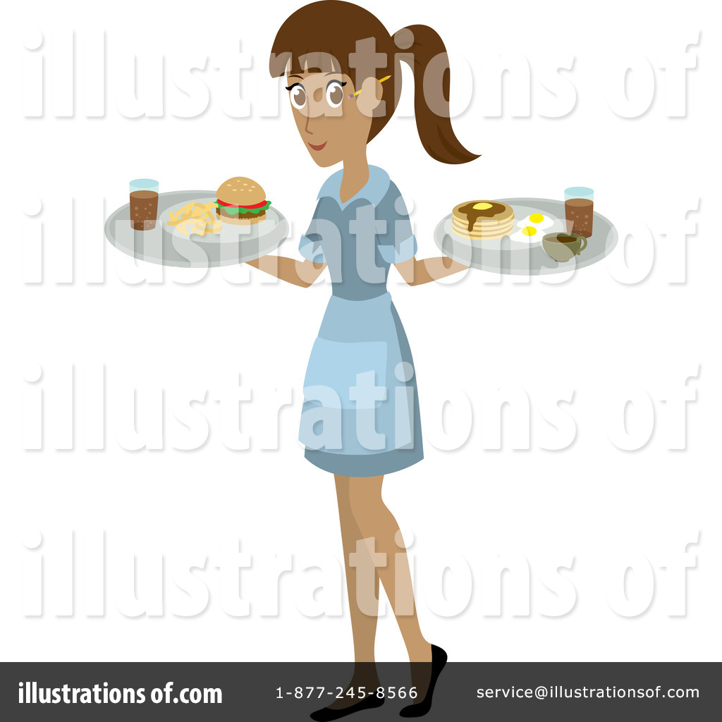 Waitress clipart food attendant. Illustration by rosie piter