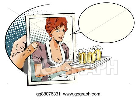 Eps illustration with photo. Waitress clipart hand