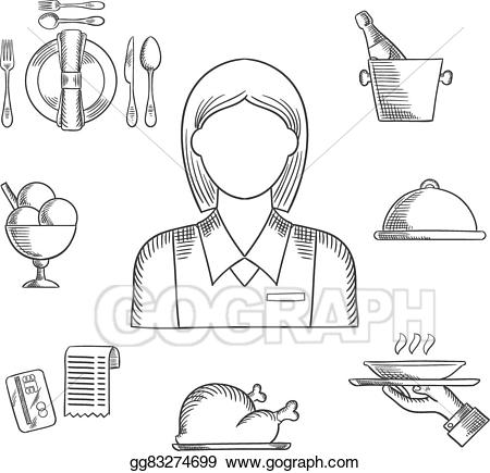 Waitress clipart hand. Vector drawn and restaurant