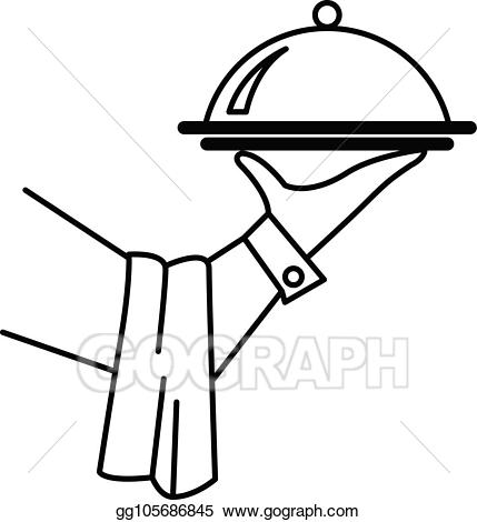 Waitress clipart hand. Vector of waiter or