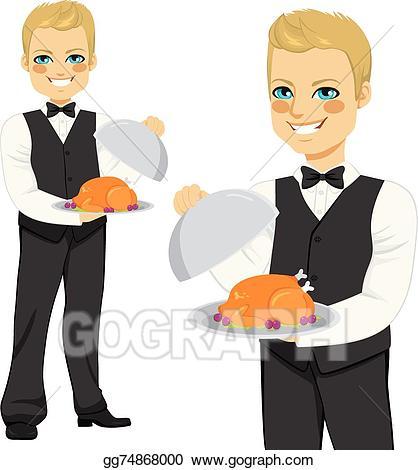 Vector stock blond waiter. Waitress clipart handsome