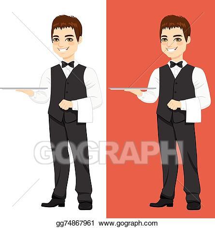 Waitress clipart handsome. Vector illustration waiter standing