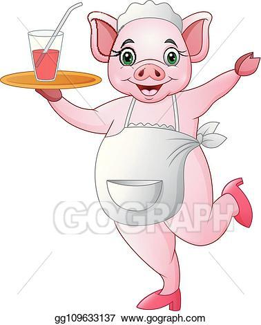 Vector art cartoon pig. Waitress clipart happy