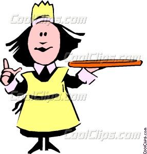 Cartoon vector clip art. Waitress clipart hospitality service