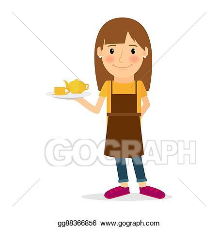 Waitress clipart occupation. Vector illustration cartoon icon