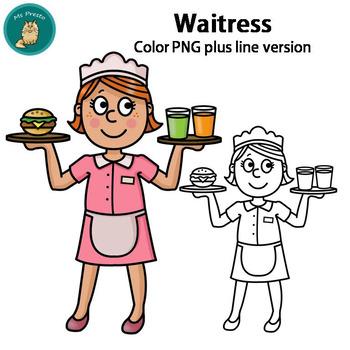 Clip art png . Waitress clipart occupation