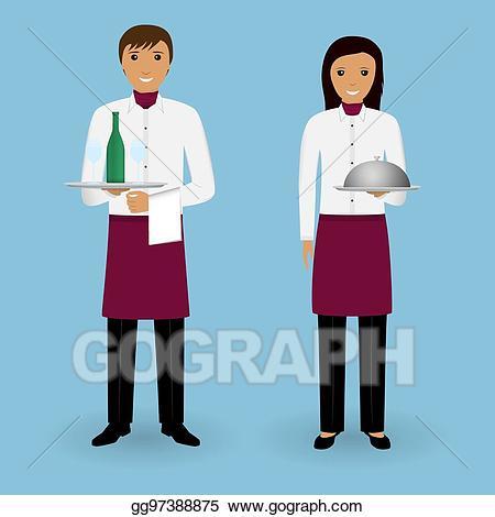 Vector art couple of. Waitress clipart occupation