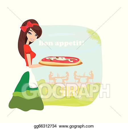 Waitress clipart pizza. Eps illustration smiling serving