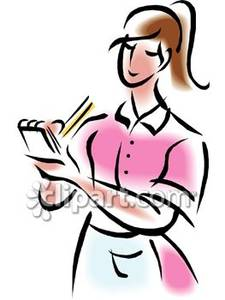 A taking an royalty. Waitress clipart sales order