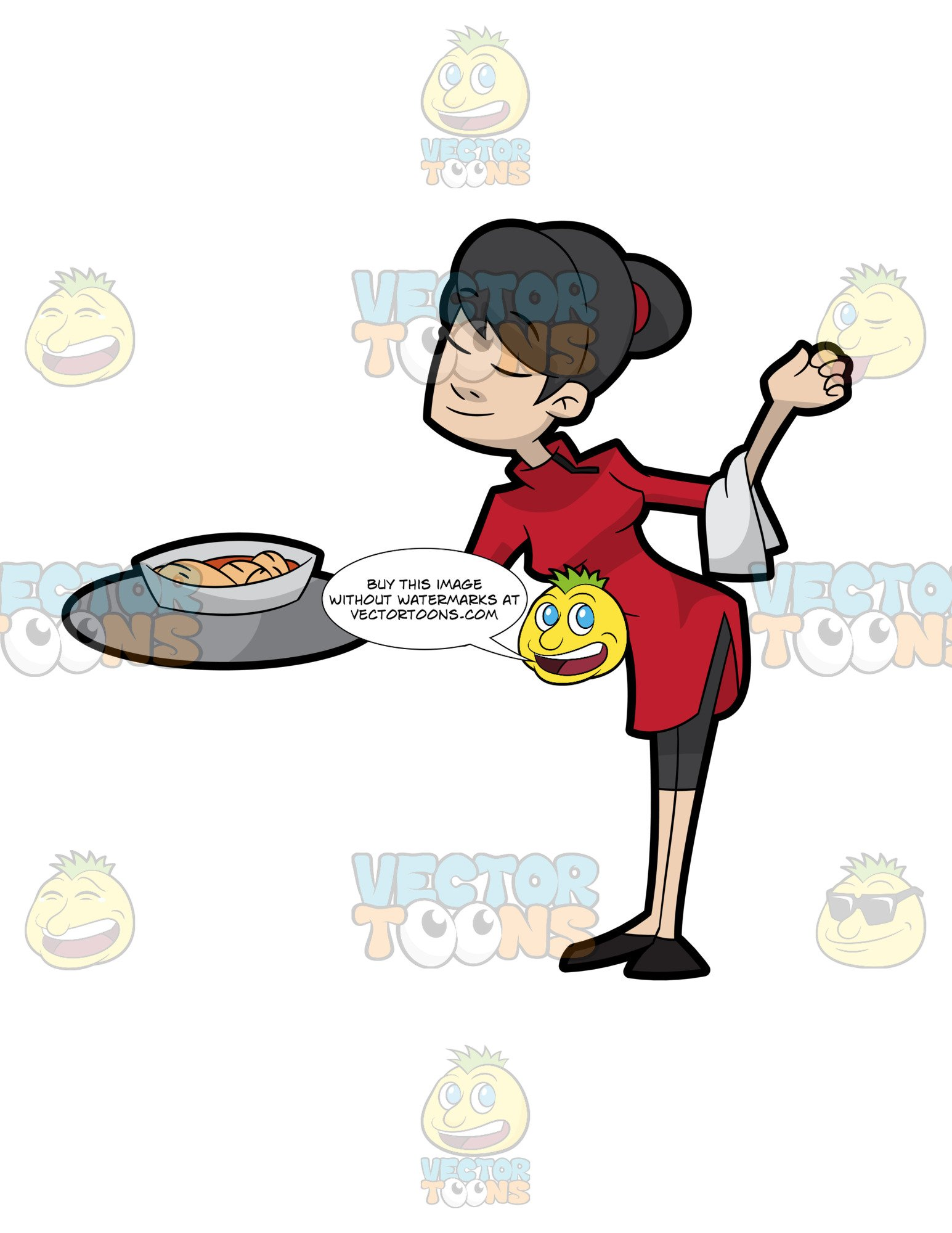 Waitress clipart waiter chinese. A female of restaurant