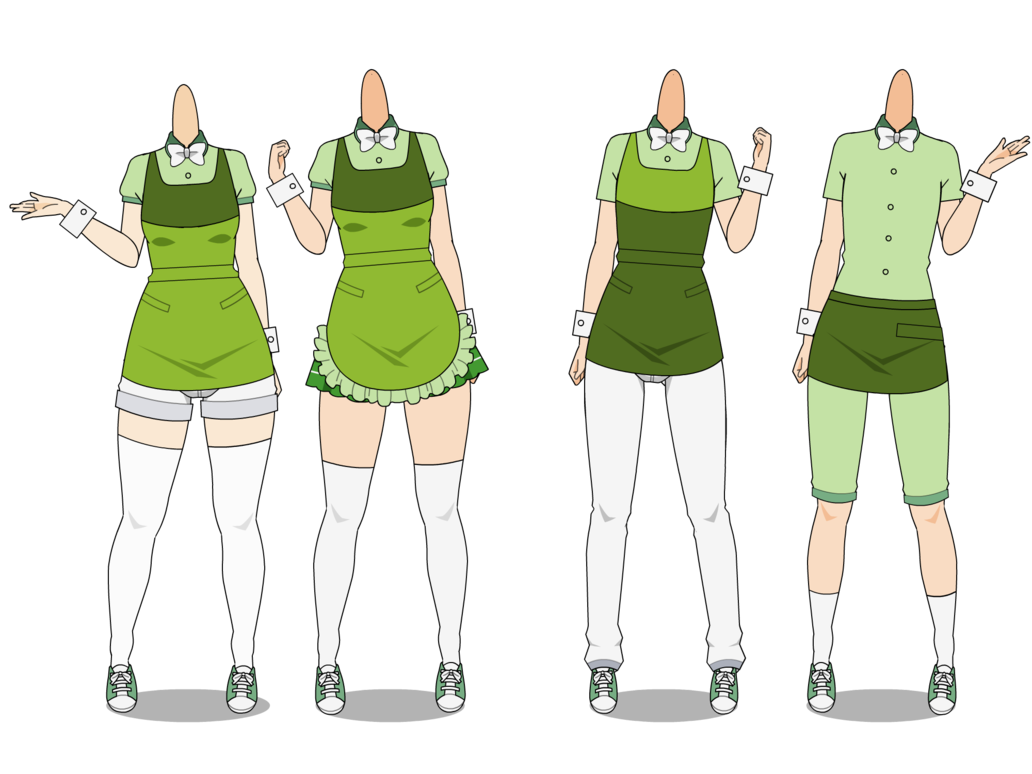 Waitress clipart waiter uniform. Kise cafe uniforms by