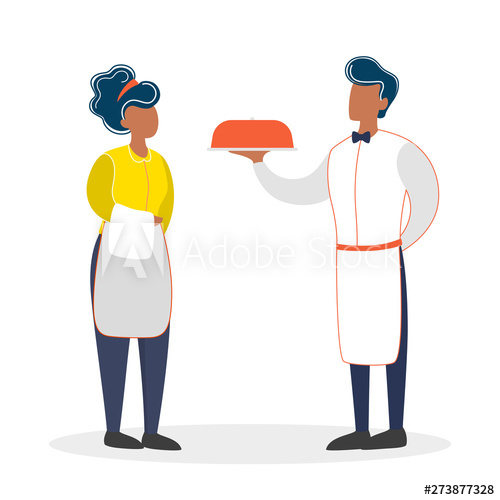 Waitress clipart waiter uniform. And standing restaurant staff