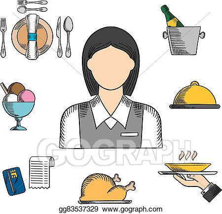 Clip art vector and. Waitress clipart waiter uniform