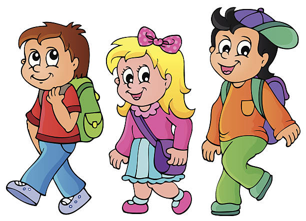 Kids station . Walking clipart
