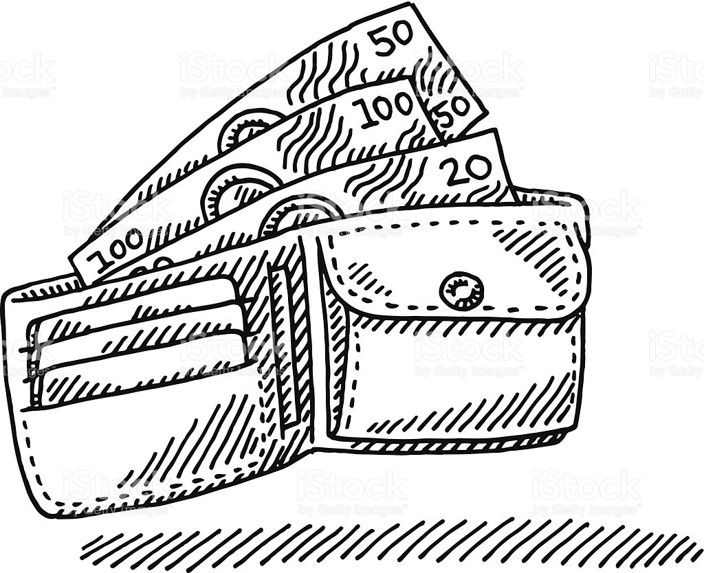 Station . Wallet clipart black and white
