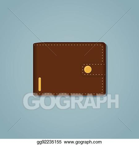 Wallet clipart brown. Eps illustration leather vector