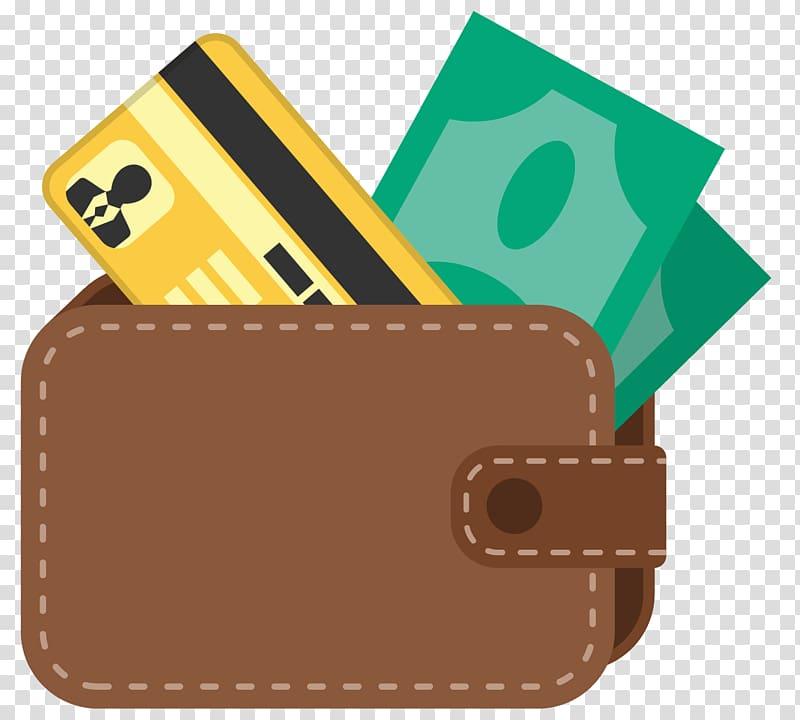 Wallet clipart brown. With card and banknotes