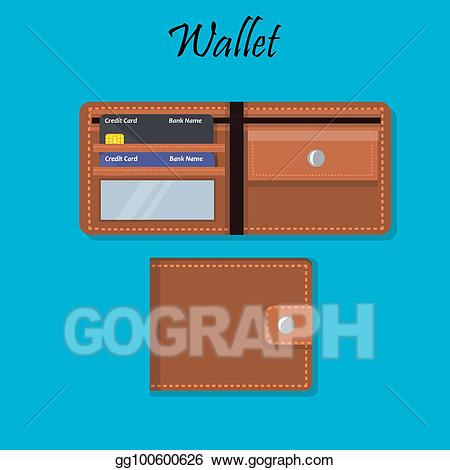 Wallet clipart credit. Vector stock with money