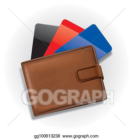 Stock illustration with cards. Wallet clipart credit