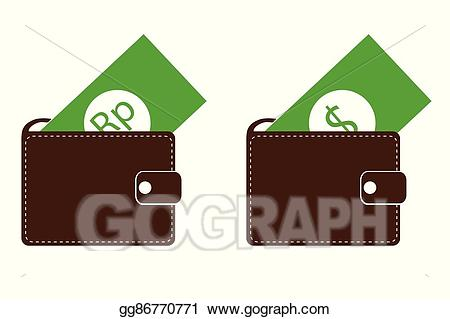 Vector art rupiah and. Wallet clipart dollar