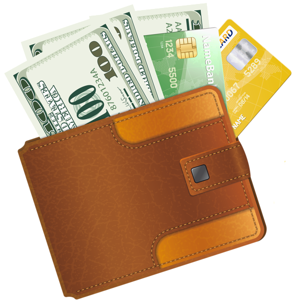 Wallet clipart dollar. With credit cards and