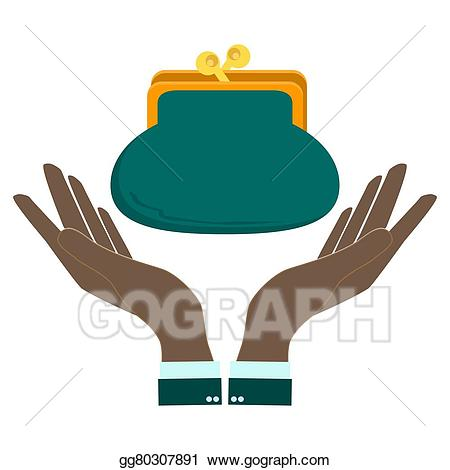 Wallet clipart hand. Eps illustration holding a