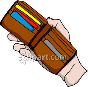 Wallet clipart hand. Holding an open royalty