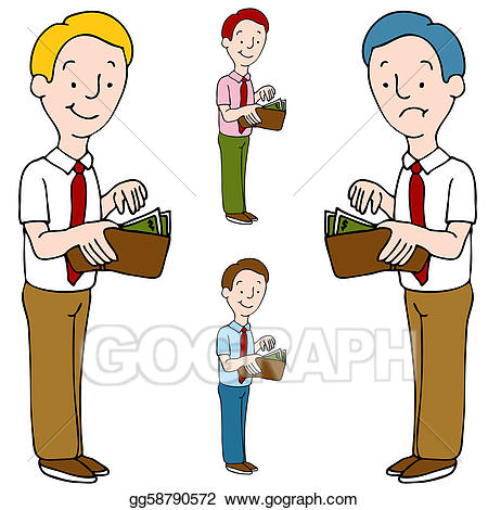 Vector opening his illustration. Wallet clipart man clipart
