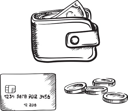 Wallet clipart money drawing. Credit card with and
