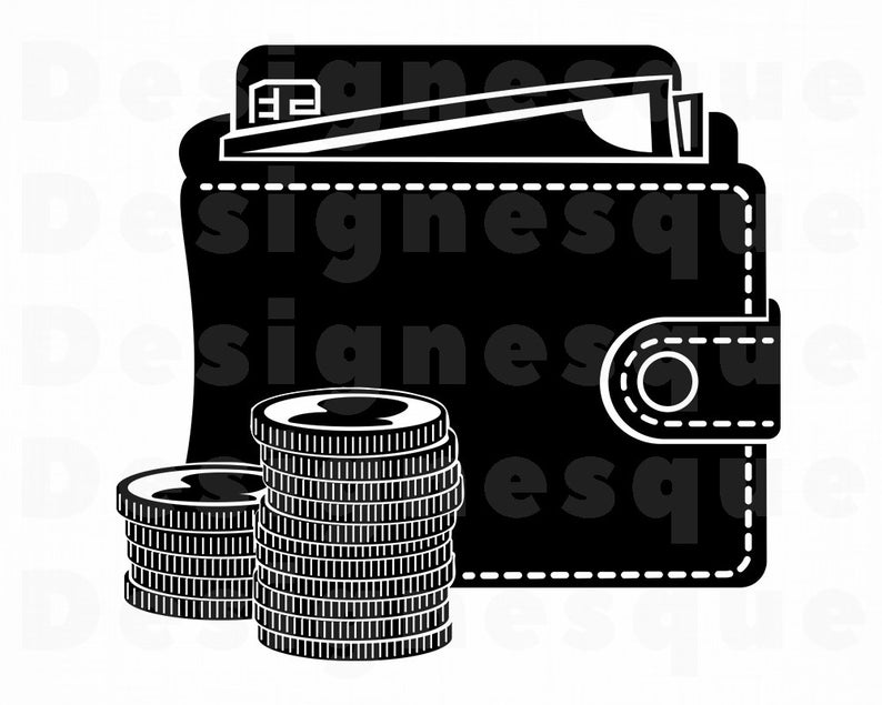 Wallet clipart money vector. Svg coins svs files