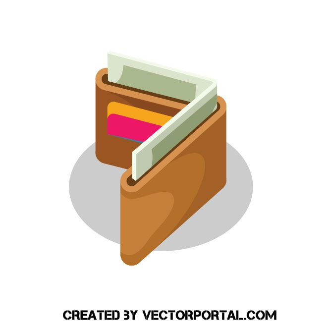 Wallet clipart money vector. With cash image business
