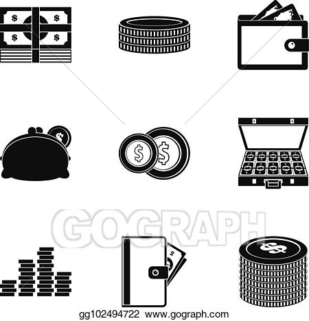 Vector stock icons set. Wallet clipart subsidy