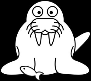 Outline clip art at. Walrus clipart