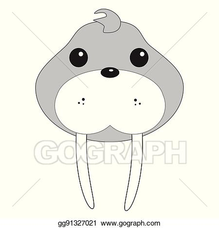 Vector illustration face stock. Walrus clipart baby